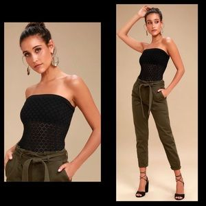 FREE PEOPLE Honey Textured Tube Top Black Stretch